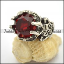 Stainless Steel Skull Engagement Ring with Clear Red Facted Stone r002705