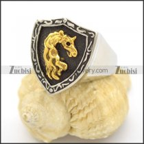 Gold Horse Antique Silver Stainless Steel Shield Ring r002515