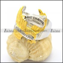 Silver and Gold Plating Steel RIDE TO LIVE Eagle Ring r002762