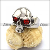 Two Big Red Stones Eyes Skull Ring for Mens r002875