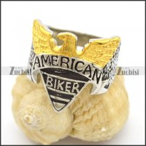 Gold and Silver Tone Steel American Eagle Biker Ring r002761