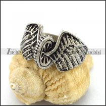 Stainless Steel Motorcycle Wheel with Angel Wings Biker Ring r002948