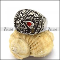 One Red Eye Stone Skull Ring r002874