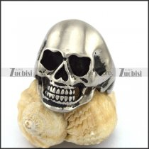 Matte Medium Size Stainless Steel Skull Ring r002947