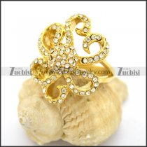 Gold-plating Flower Ring with Clear Rhinestones r002735