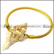 gold plating wire bangel with rhinestones anchor charm b007937