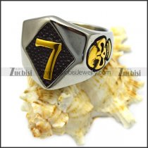stainless steel lucky seven skull ring r005940