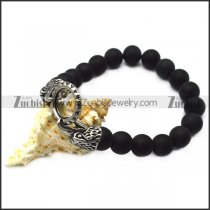 black rosary bracelet with steel raven heads b007993
