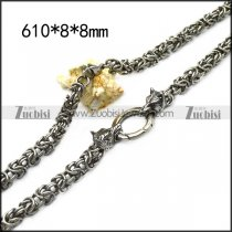 8mm wide chainmaille chain necklace with 2 wolf heads n002244
