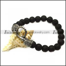 lava rosary bracelet with 2 raven heads end caps b007994