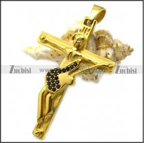 yellow gold plating hallyday johnny guitar cross with black rhinestones p008529