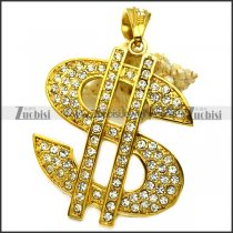 golden us dollar sign pendant with rhinestones for hip hop p008853
