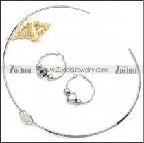Stainless Steel Choker with Earring Set as Collar Wearing s002925