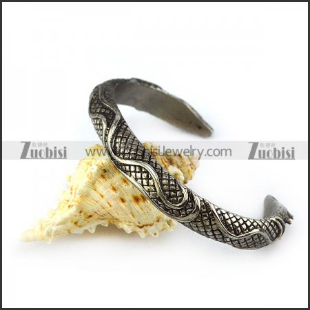 Vintage Stainless Steel Dragon Bangle For Men b005410