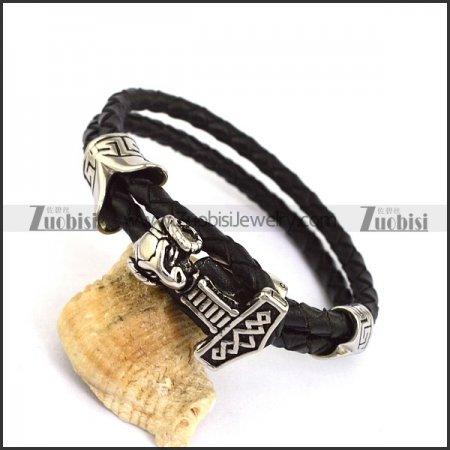 Black Real Leather Bracelet with Hammer Charm b004242