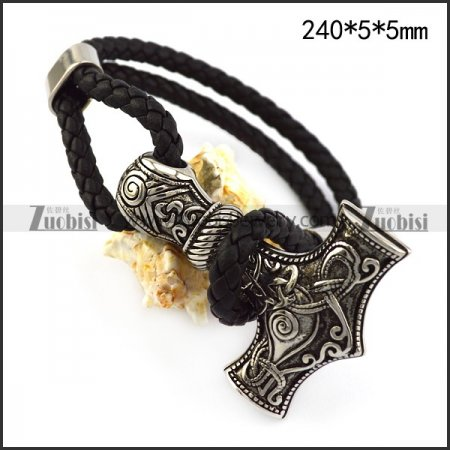 Hammer Black Leather Bracelet b006301