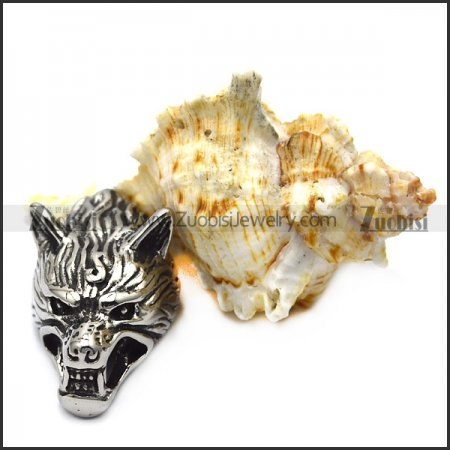 wild wolf head end cap for leather cord or chain a000615