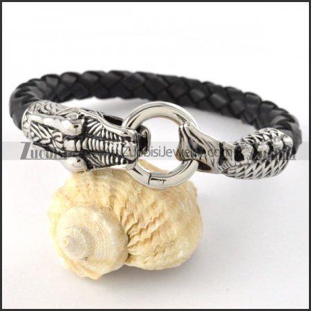 Real Leather Stainless Steel Dragon Bracelet- b000440