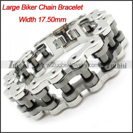 Wholsale Men's Heavy Silver Black Polishing Motorbike Chain Bracelet -b000627-11