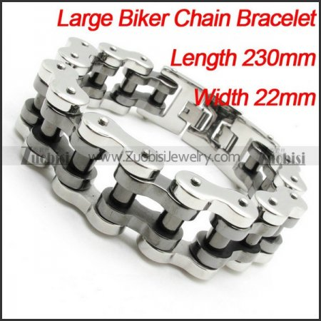 Silver Black Polishing Motorcycle Bike Chain Bracelet -b000627-1