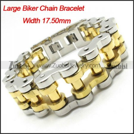 0.70 inch Width Heavy Gold Polishing Motorcycle Bike Chain Bracelet -b000628-1