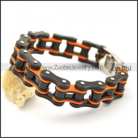 Black and Orange Bike Link Chain Bracelet for Mens b003423