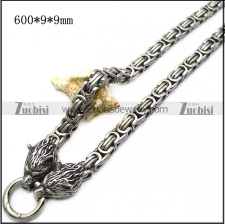 9mm wide stainless steel chain with 2 wolf heads