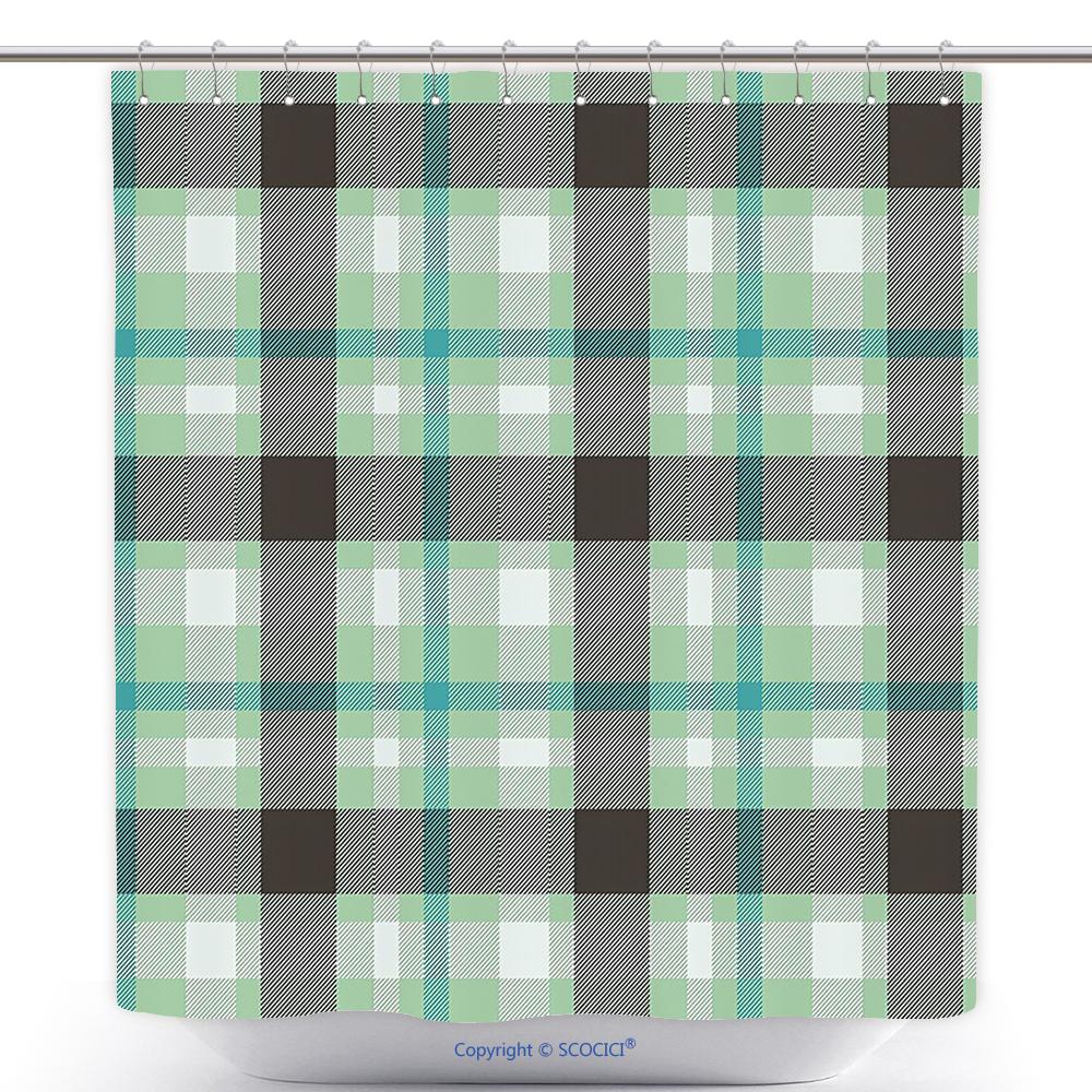 New US$ 29.86 - Waterproof Shower Curtain Abstract Geometric Tartan  GC38