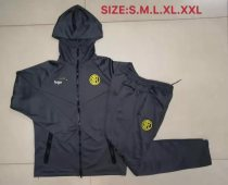 2019-20 Men Inter Milan gray Soccer jacket with hoodies football kits