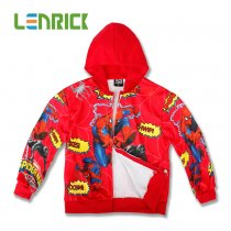 Lenrick Cartoon Spiderman  Hoodies Red Kids Wholesale