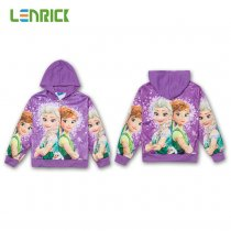 Lenrick Cartoon Frozen Elsa  Hoodies Purple Cartoon Frozen Anna Casual Sweatshirts Wholesale