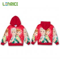 Lenrick Cartoon Frozen Elsa  Hoodies Red  Anna Casual Sweatshirts Wholesale