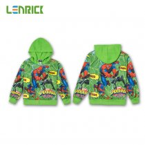 Lenrick Cartoon Spiderman  Hoodies Green Boys Wholesale