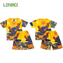Lenrick Spiderman Boys Pajamas Set  Yellow Pijamas Kids Sleepwear Cartoon T-shirts+Shorts Summer Pajamas for Kids Pyjama Boy Clothes