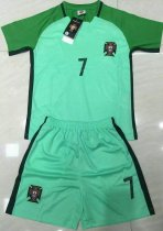 2016/17 Kids Soccer Jersey Uniform Green Away With Ronaldo 7 Children Football Jersey Kits With Name and Number  Cheap Wholesale