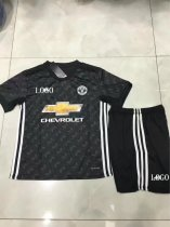 17-18 Cheap Kids Manchester United Away Black Soccer Jersey Uniform Children Kits Football Jersey Set