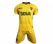 Boca Juniors 2017-2018 away Yellow Soccer Jersey Uniforms Adult Football Kits