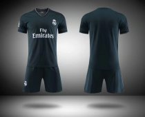 2018/19 Kids Real Madrid Away Black Without Brand Logo Soccer Kits Children Football Uniform