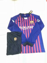 18/19 Adult Barcelona Home Long Sleeve Soccer Jerseys Winter Sport Training Football Uniforms