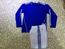 Adult Blue Long Sleeve Soccer Uniform Football Kits