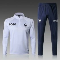 2018/19 Men France White Soccer Tracksuit Adult Football Training Suit