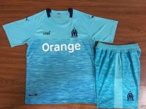 18/19 Child Marseille Away Blue Soccer Kits Kids Football Uniforms