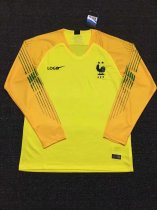 2018/19 France Two Star Long Sleeve Yellow Goal Keeper Jersey