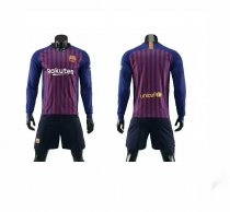 Without Logo 18/19 Barcelona Home Long Sleeve Soccer Uniform Adult Football Kits