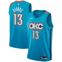 2018/19 Men's Oklahoma City Thunder Paul George Turquoise Swingman Jersey – City Edition