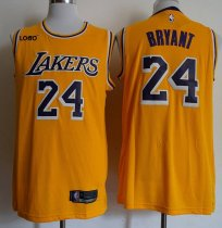 2018 -19 Men Lakers 24 Kobe Bryant Gold Swingman Jersey