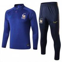 18-19 Adult France Royal blue long sleeve Men Soccer tracksuit trainning suit