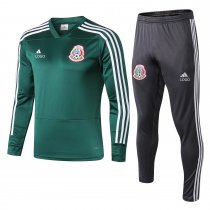 18-19 Adult Mexico green v collar long sleeve Men Soccer tracksuit trainning suit