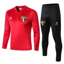 2018-19 men Sao paulo red long sleeve v collar Soccer tracksuit trainning suit