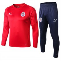 18/19 Adult Chivas red round neck Soccer tracksuit trainning suit
